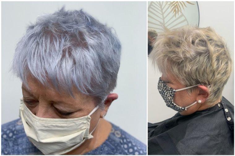 mujeres mayores cabello azul ahumado
