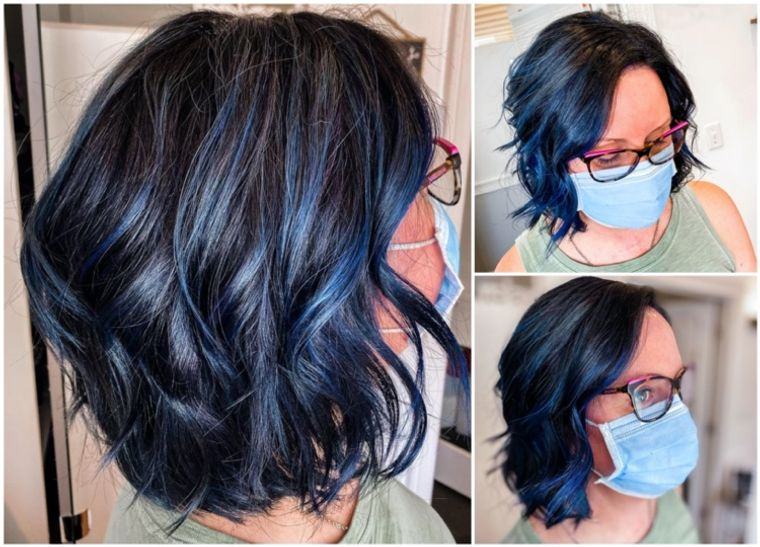 mujeres mayores cabello azul negro