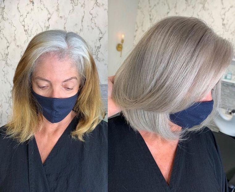 mujeres mayores cabello con rubio ceniza