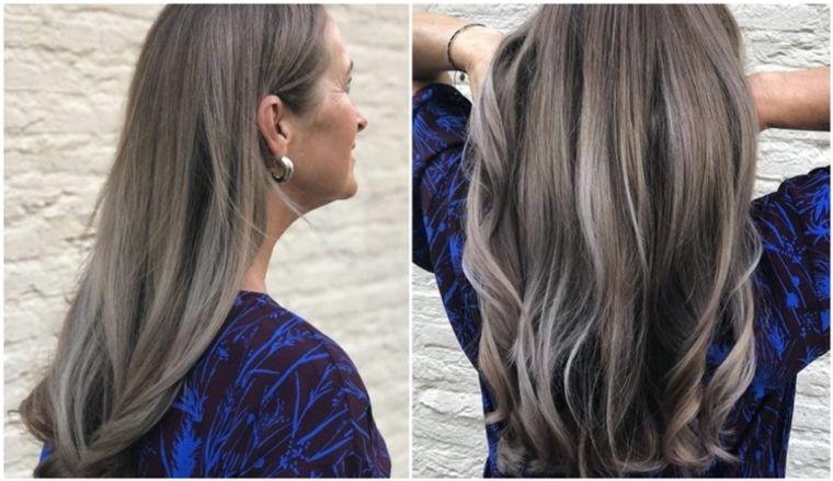 mujeres mayores cabello marron ceniza