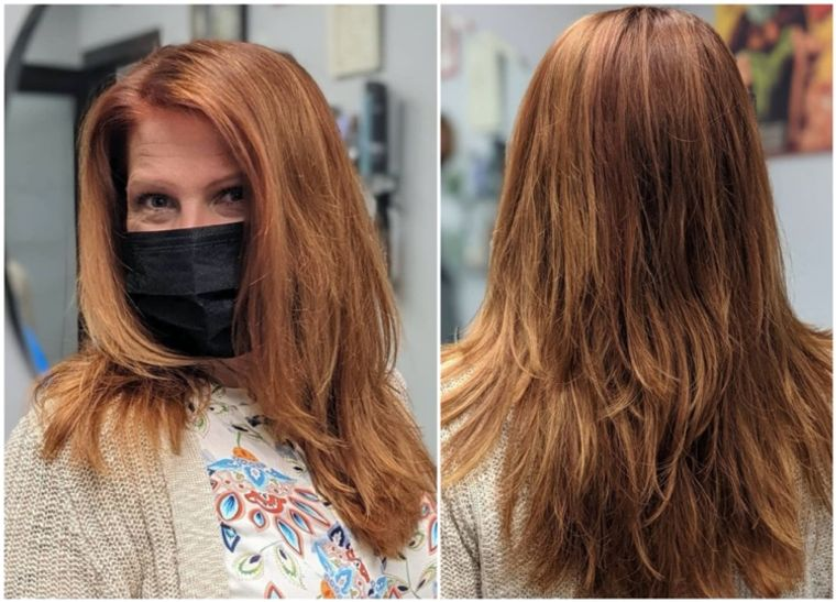 mujeres mayores cabello marron con toques de cobre