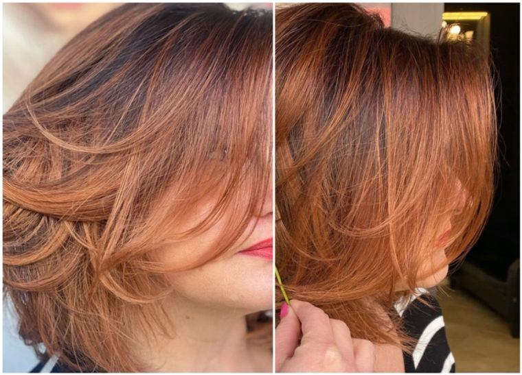 mujeres mayores cabello marron rojizo claro