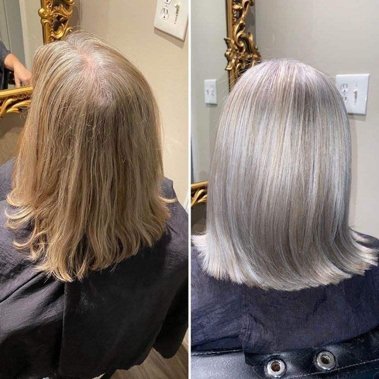 mujeres mayores cabello rubio con reflejos plateados