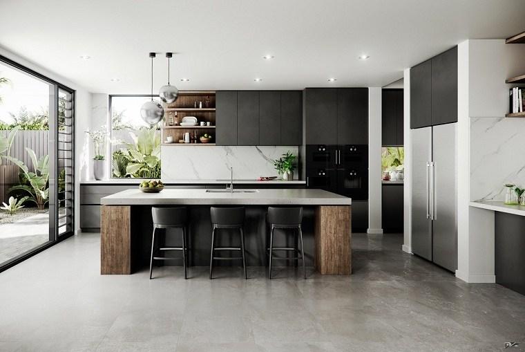 cocina-blanco-negro-madera