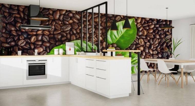 cocina moderna con fotomural cafe