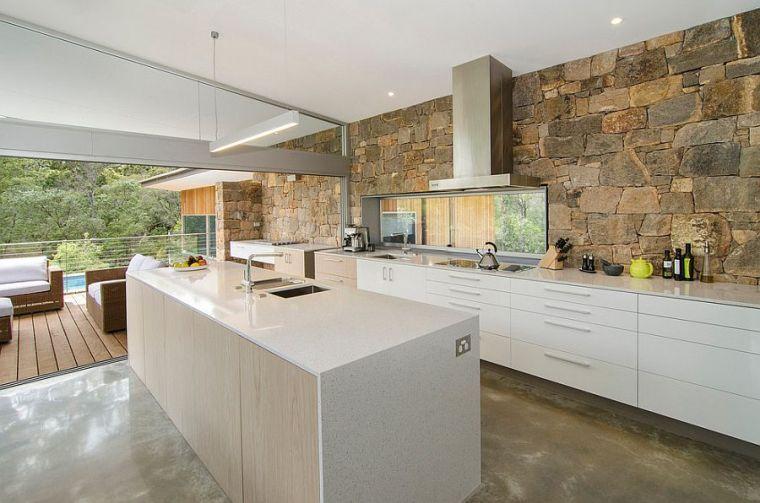 cocina moderna fotomural piedra