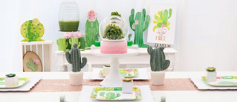 cumpleaños decoracion con cactus