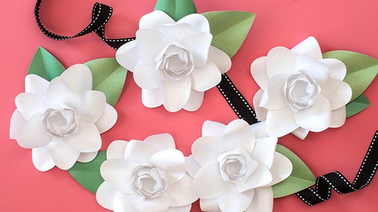 flores de papel gardenias