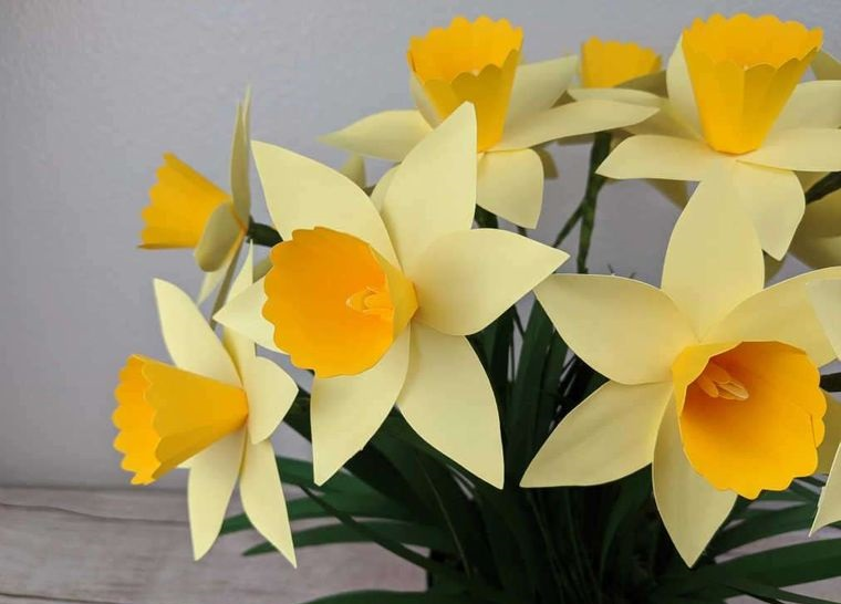 flores de papel narcisos cartulina amarilla