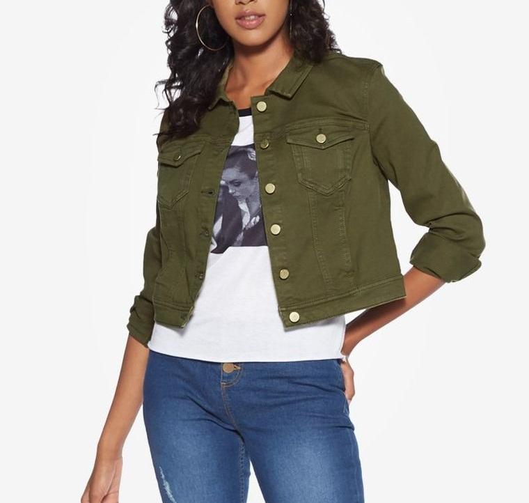 mezclilla chaqueta teñida de verde