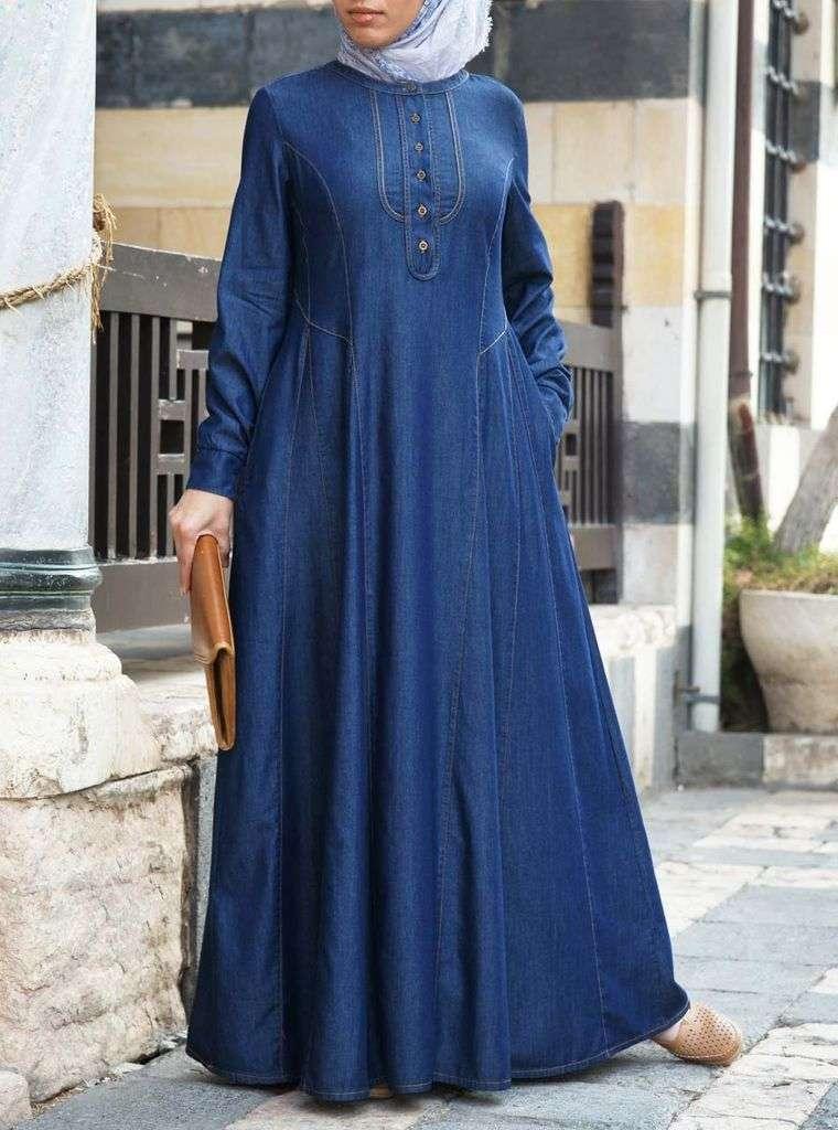 mezclilla en vestido largo