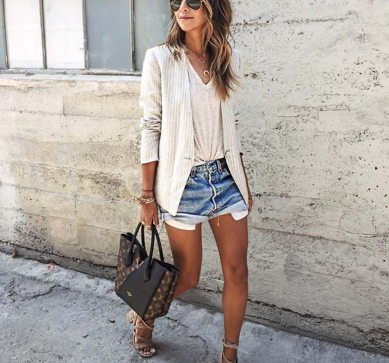 mezclilla pantalon corto femenino
