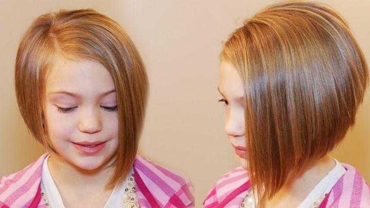 cortes de pelo de niña modernos bob asimetrico