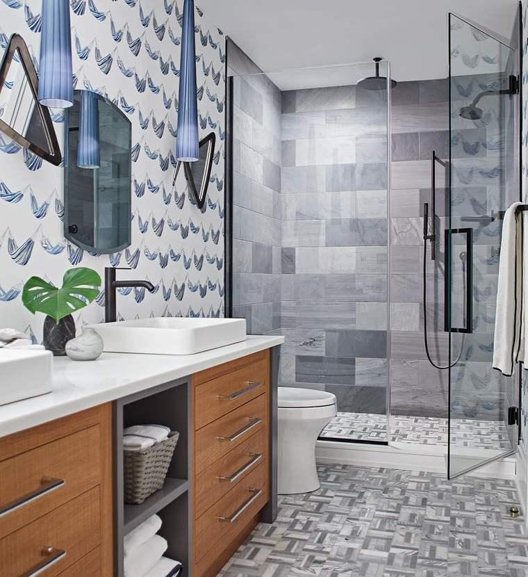 decoración de interiores baño papel tapiz
