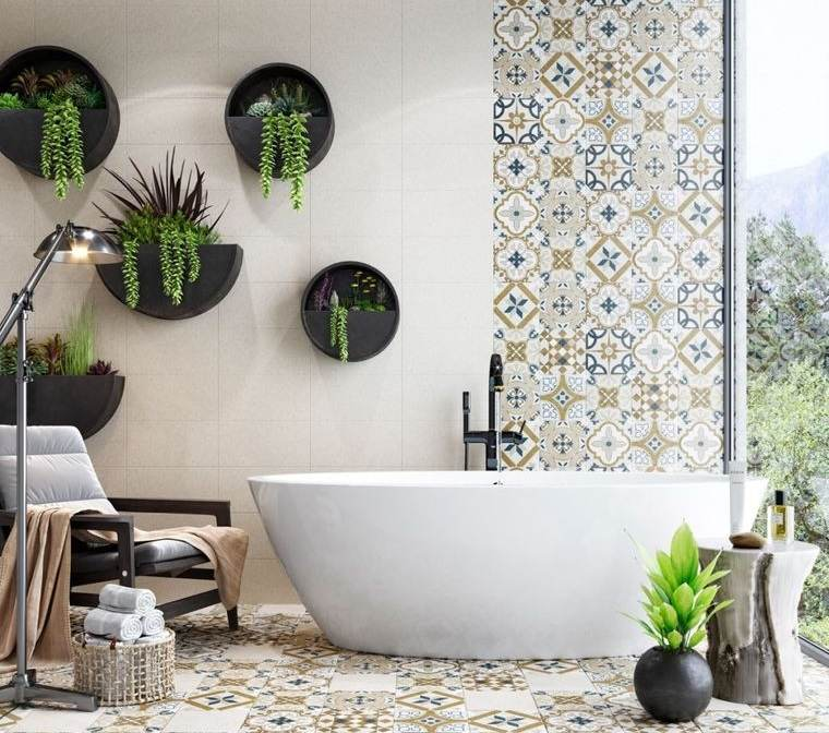 decoración de interiores baño vegetacion