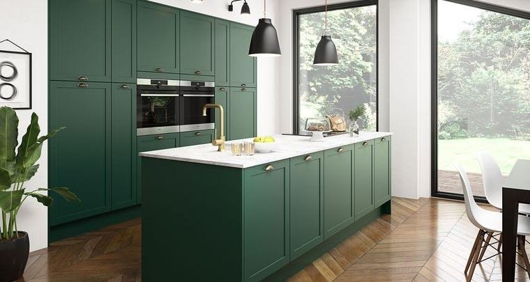decoración de interiores cocina verde
