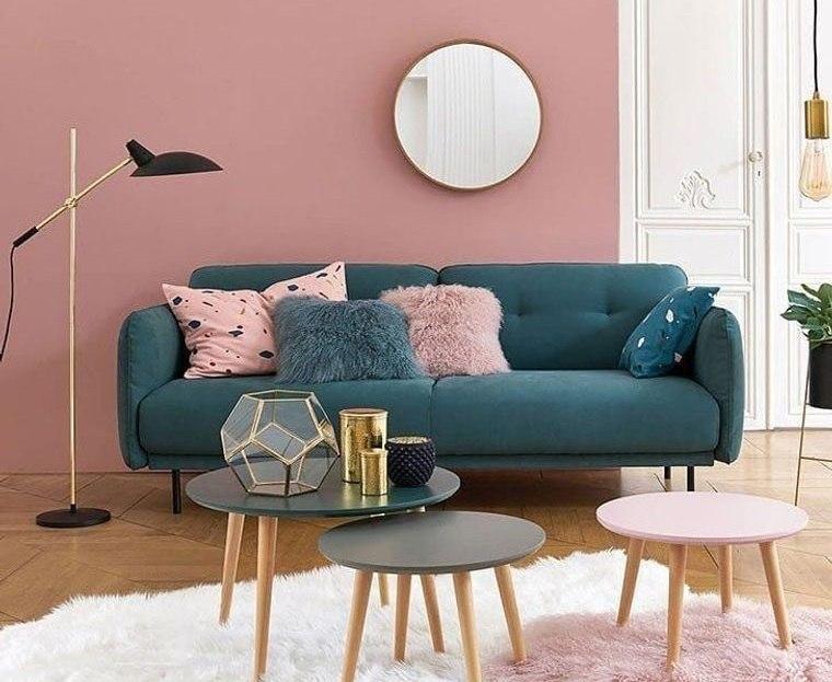 decoración de interiores color rosado