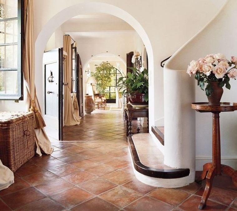 decoración de interiores piso terracota