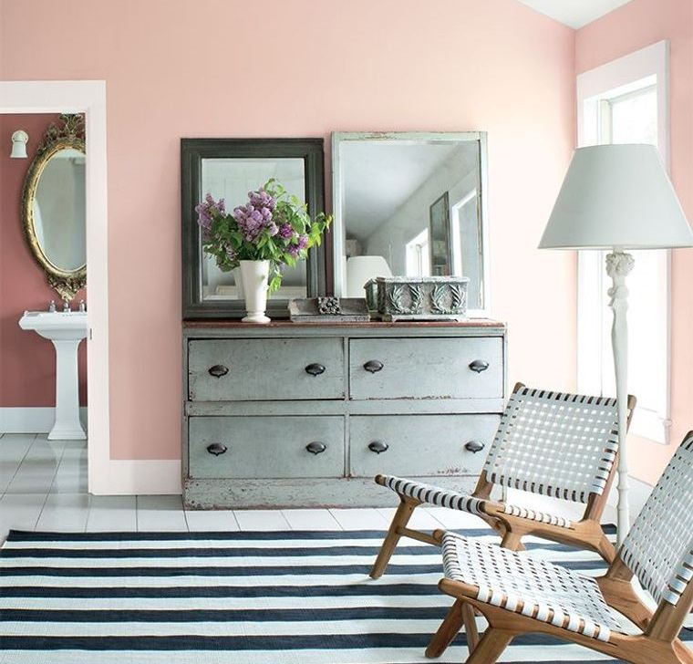 decoración de interiores rosa pared