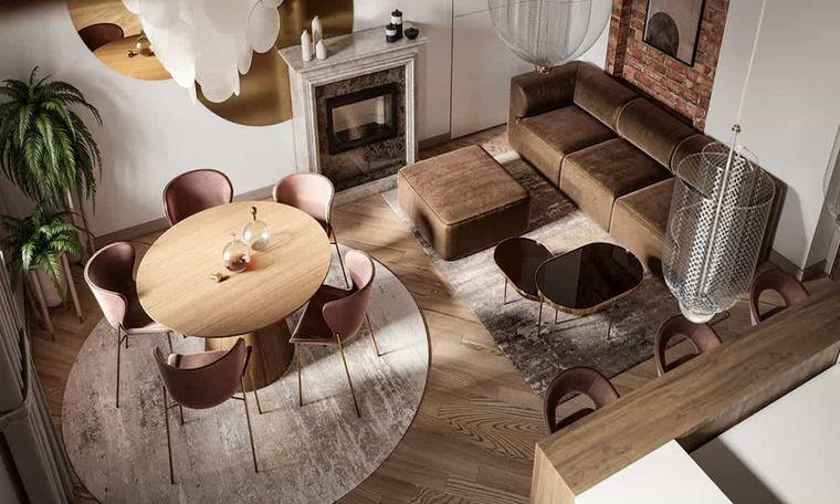 decoración de interiores sala de estar marron