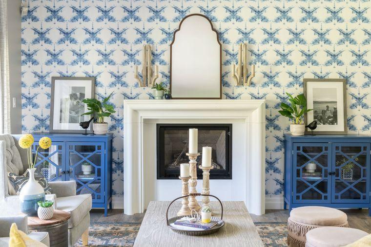 decoración de interiores sala de estar papel tapiz