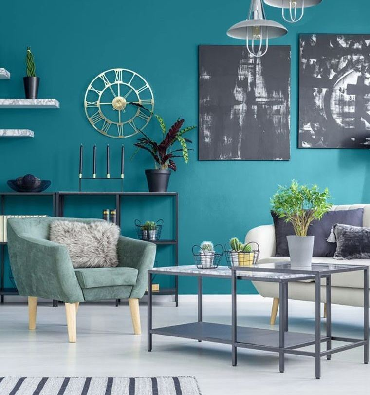decoración de interiores verde azulado
