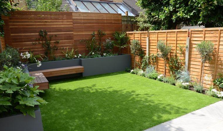 decoración de jardines con banco madera