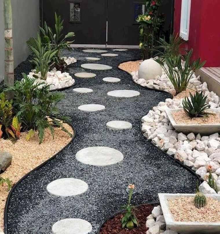 decoración de jardines con caminerias