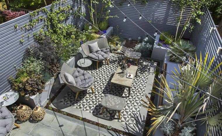 decoración de jardines muebles color gris