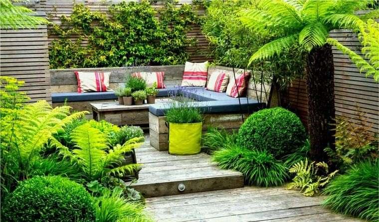 decoración de jardines suelo muebles madera