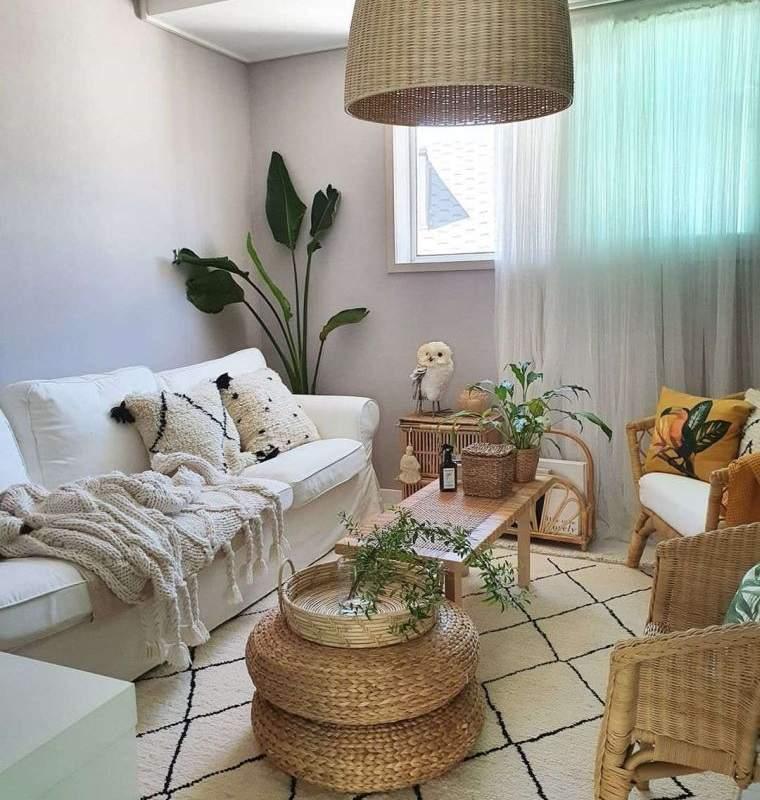 decoración natural sala de estar pequeña