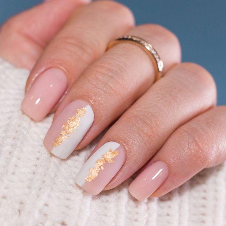 manicura elegante rosa blanco oro