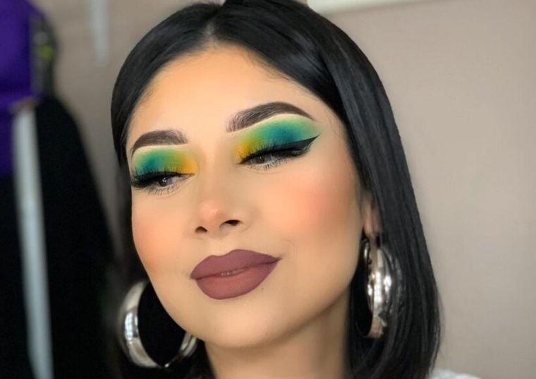 maquillaje ojos colores vivos