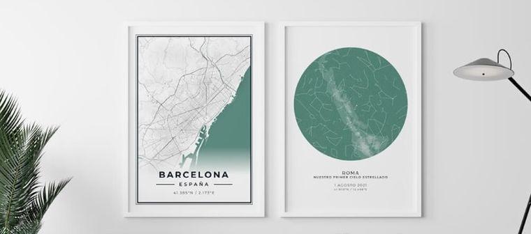 The Unique Poster: Cuadro de mapa estelar y de ciudad ideal para regalar