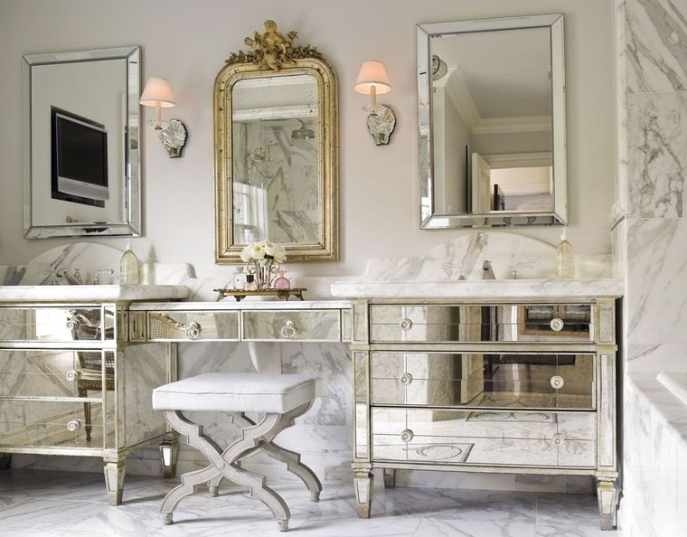 decoración con espejos pared muebles