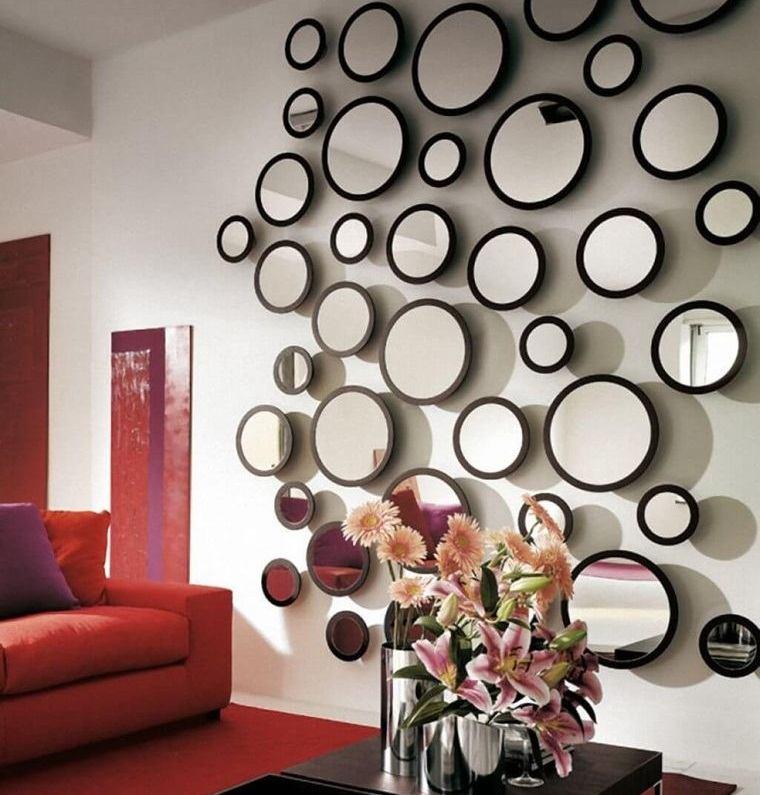 decoración con espejos pared sala