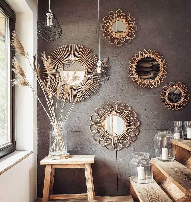 decoración con espejos rusticos