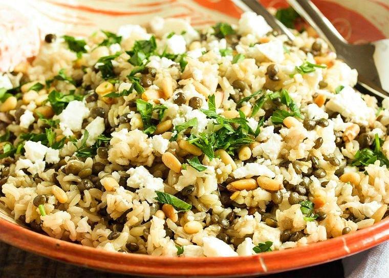 frutos secos ensalada arroz anacardos verduras