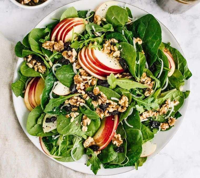 frutos secos ensalada manzana nueces vinagreta balsámica