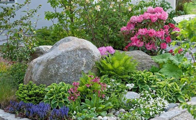 jardín de rocalla diseño rustico