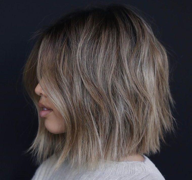 peinados media melena bob ceniza partes laterales