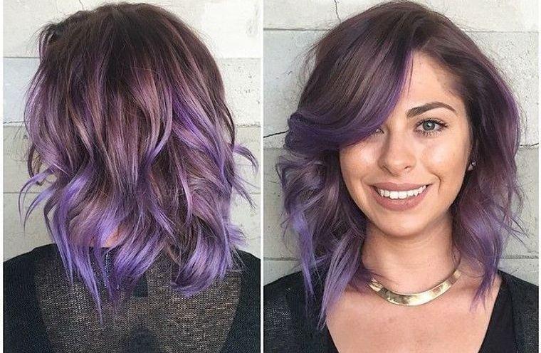 peinados media melena color lila