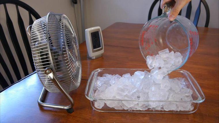 verano ventilador con hielo