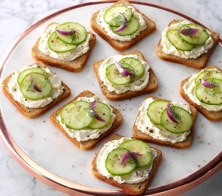 aperitivos fríos sandwiche de pepino