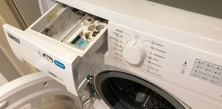 cómo limpiar la lavadora bandeja de jabon
