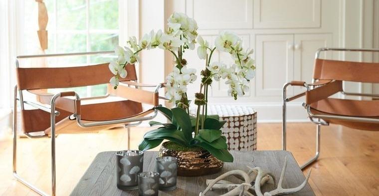 flores artificiales decorar sala de estar