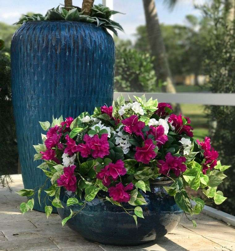 flores artificiales para exterior