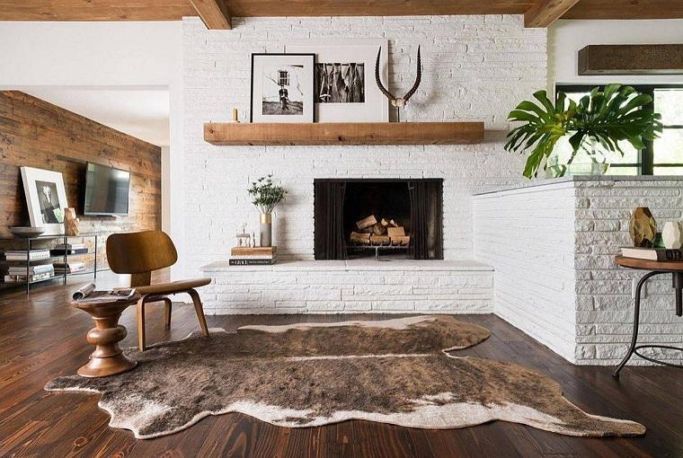 Salon-rustico-moderno-alfombra-piel-ideas