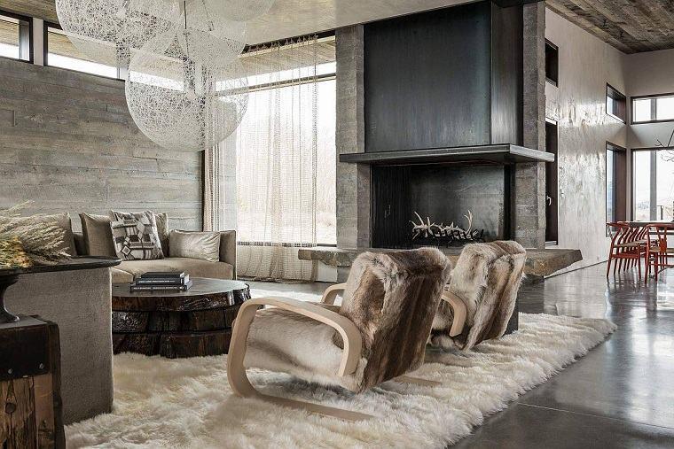 Salón rústico moderno alfombra-piel
