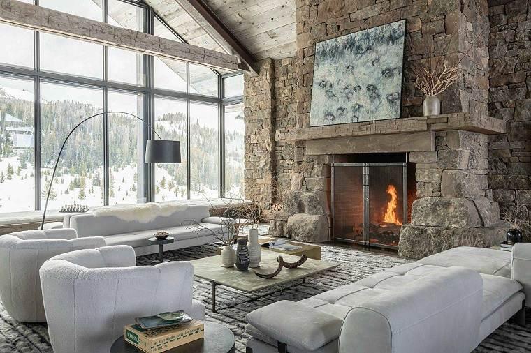 Salón rústico moderno -elementos-invierno